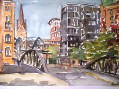 Speicherstadt mit Blick auf die Petrikirche