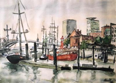 Überseebrücke mit Feuerschiff